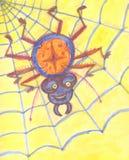 Il ragno divertente si siede nella ragnatela su un fondo giallo illustrazione vettoriale