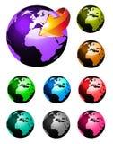 Il Rainbow colora la sfera lucida della terra 3D illustrazione vettoriale