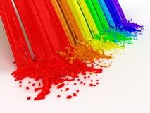 Il Rainbow e spruzza fatto da vernice. Immagini Stock