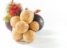 Il Rambutan e Longkong con il mangostano sono asiatico del sud f della frutta Immagine Stock Libera da Diritti