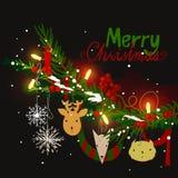 Il ramo dell'albero di Natale con passare gioca - gli animali, i fiocchi di neve, gli archi e le luci di carta Immagini Stock