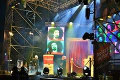 Il rapper popolare italiano Caparezza sta cantando durante il concerto del nuovo anno fotografia stock
