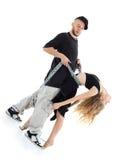 Il rapper tiene la ragazza graziosa dalle catene immagini stock