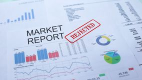 Il rapporto del mercato ha rifiutato, mano che timbra la guarnizione sul documento ufficiale, statistiche stock footage