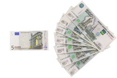 Il rapporto della rublo all'euro Immagine Stock