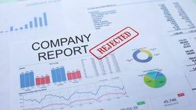 Il rapporto della società ha rifiutato, mano che timbra la guarnizione sul documento ufficiale, statistiche stock footage