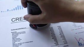 Il rapporto di credito ha approvato, mano che timbra la guarnizione sul documento ufficiale, statistiche stock footage