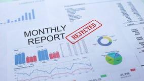 Il rapporto mensile ha rifiutato, mano che timbra la guarnizione sul documento ufficiale, statistiche video d archivio