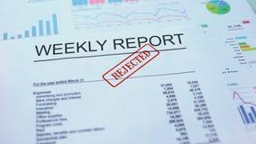Il rapporto settimanale ha rifiutato, mano che timbra la guarnizione sul documento ufficiale, statistiche video d archivio