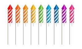 Il razzo dei fuochi d'artificio ha fissato un simbolo della celebrazione illustrazione vettoriale