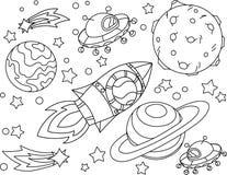 Il razzo vola al libro da colorare della luna Illustrazione Antistress di Vetor del pianeta, della terra e della luna nello stile Immagini Stock