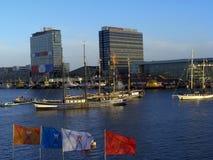 Il re naviga la linea del cielo di festeggiamenti di Amsterdam Immagini Stock Libere da Diritti