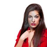 Il realista rende di bella giovane donna 3D che porta il vestito rosso, Th Fotografia Stock