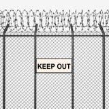 Il recinto d'argento o d'acciaio con filo spinato ed impedisce di entrare il segno illustrazione di stock