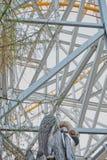Il recinto dei ceppi di legno, colonna del metallo, conifere immagini stock