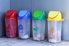Il recipiente, ricicla il recipiente, secchio della spazzatura di plastica, Trash blu giallo rosso e si inverdisce 4 tipi di spre immagini stock libere da diritti
