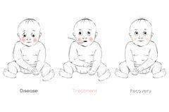 Il recupero del bambino, l'espressione facciale del bambino, modello di vettore Immagini Stock