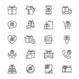 Il regalo assottiglia le icone Fotografia Stock Libera da Diritti