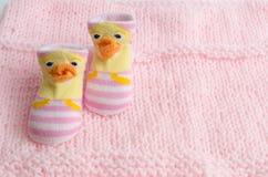 Il regalo dei calzini di rosa ha messo per una ragazza di neonato Fotografie Stock