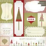 Il regalo di Natale etichetta, etichette ed autoadesivi Fotografia Stock