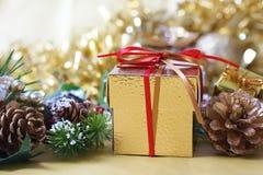 Il regalo di Natale si è accoccolato in pigne e nei rami di albero dell'abete Fotografie Stock Libere da Diritti