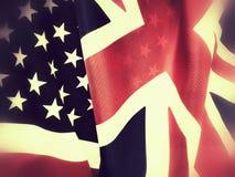 Il Regno Unito e bandiere americane Fotografie Stock Libere da Diritti