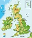 Il Regno Unito e mappa Irlanda-fisica Fotografie Stock Libere da Diritti