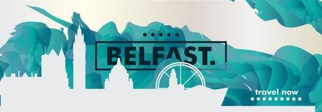 Il Regno Unito ha unito l'insegna di vettore di pendenza della città dell'orizzonte di Kigdom Belfast Immagine Stock Libera da Diritti