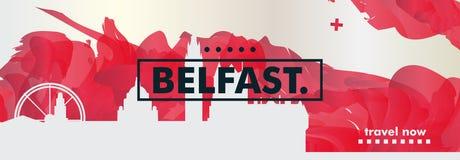 Il Regno Unito ha unito l'insegna di vettore di pendenza della città dell'orizzonte di Kigdom Belfast Immagini Stock