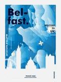 Il Regno Unito ha unito il manifesto di vettore di pendenza della città dell'orizzonte di Kigdom Belfast Fotografie Stock
