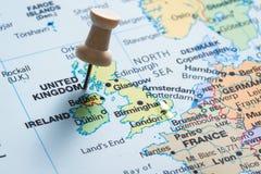 Il Regno Unito su una mappa Fotografia Stock Libera da Diritti