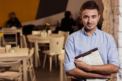Il responsabile del piccolo ristorante Fotografie Stock