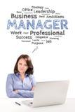 Il responsabile della donna sta sedendosi davanti ad un computer portatile nell'ambito dell'emozione del lavoro Immagini Stock