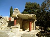 Il resti storico della costruzione antica al sito archeologico di Cnosso, Candia, isola di Creta Fotografia Stock Libera da Diritti