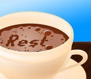 Il resto del caffè rappresenta si rilassa il caffè ed il rilassamento Fotografia Stock