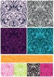 Il reticolo senza giunte dei fiori 8 del damasco lo ringrazia bandiera Fotografia Stock