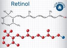 Il retinolo, vitamina A, è in alimento ed è usato come integratore alimentare Fotografia Stock Libera da Diritti