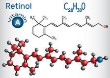 Il retinolo, vitamina A, è in alimento ed è usato come integratore alimentare Fotografie Stock Libere da Diritti