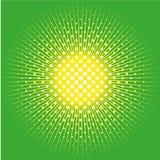 Il retro fondo comico di schiocco ha punteggiato la progettazione di semitono ed il sole su verde Immagini Stock