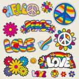 Il retro hippy rattoppa gli emblemi di vettore illustrazione di stock