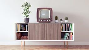 Il retro interior design classico del salone 3d rende Fotografia Stock