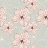 Il retro modello senza cuciture con l'orchidea rosa fiorisce su fondo beige Fotografia Stock