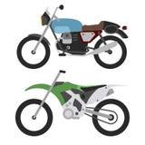 Il retro motociclo e motorcross bike isolato su bianco Fotografia Stock