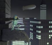 Il retro robot con un telefono sulla scatola, il dirigibile, il dirigibile, 3d, rende illustrazione vettoriale