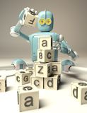 Il retro robot gioca con i cubi di legno di ABC su floore rappresentazione 3d royalty illustrazione gratis
