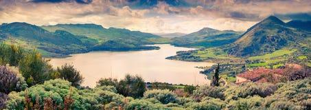 Il retro stile ha tonificato il panorama di alta valle di Rosamarina del lago Fotografia Stock Libera da Diritti