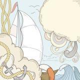 Il retro tiraggio della mano ha designato il tema del marinaio e del mare Immagini Stock