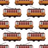 Il retro vettore adorabile ha dettagliato l'automobile del tram, vista laterale, isolato, senza cuciture Immagini Stock Libere da Diritti