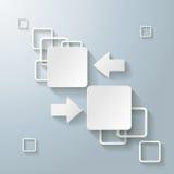 Il rettangolo bianco quadra 2 frecce di opzioni Immagini Stock Libere da Diritti