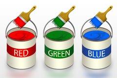 Il RGB colora i concetti dei contenitori di pittura Fotografie Stock Libere da Diritti